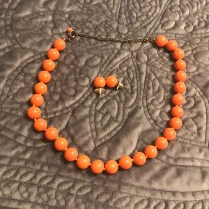 Orange chunky beaded necklace w/ matching earrings